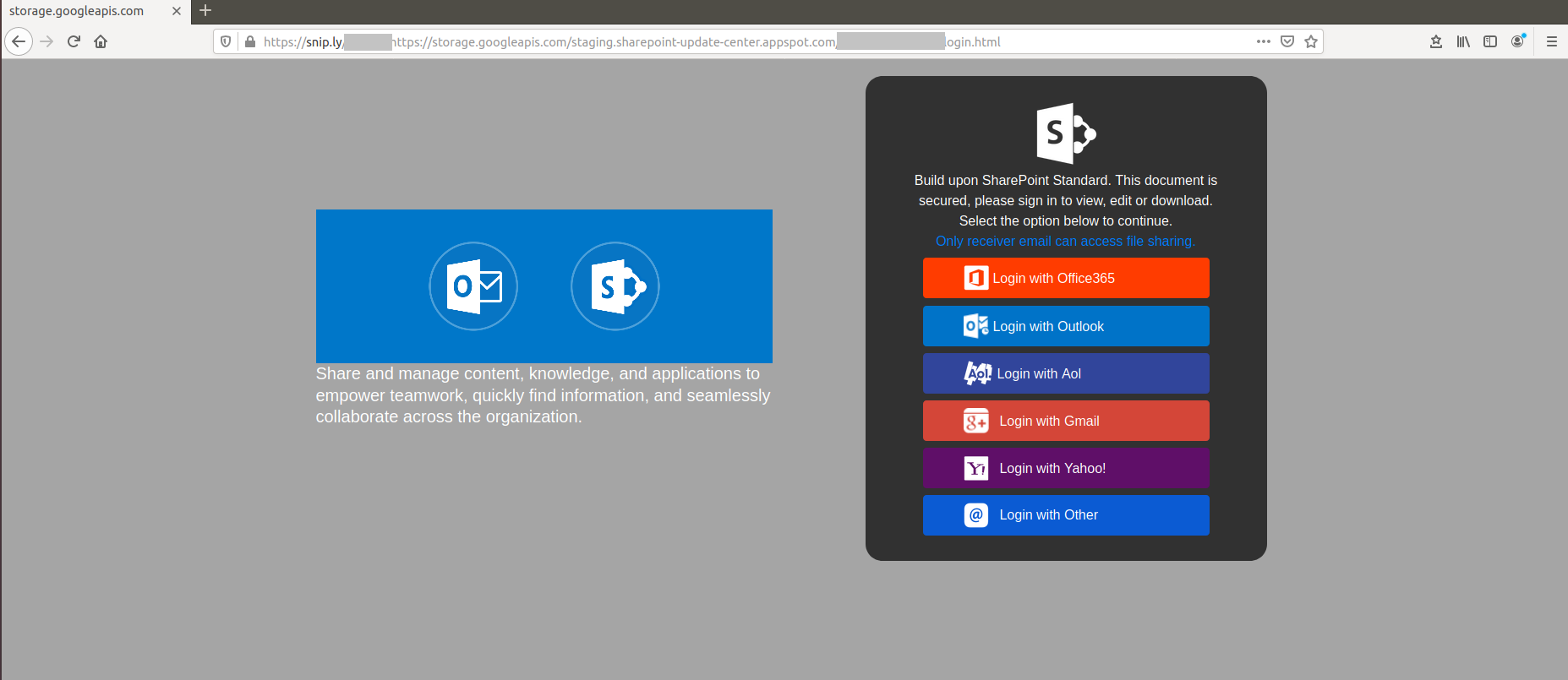 Phishing campaign sharepoint landing page