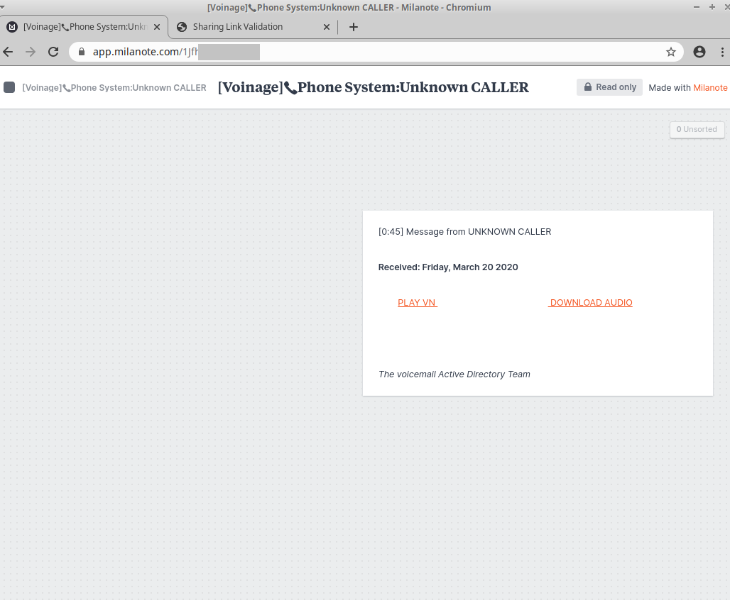 Milanote Credential Harvesting Page